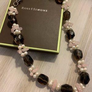 Ross Simons sterling & multi-gem cluster necklace